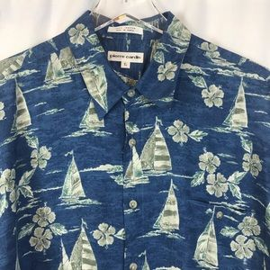 Pierre Cardin Short Sleeve Hawaii Shirt SZ L